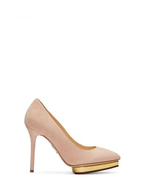 Charlotte Olympia | Золотой Pink Suede Debbie Heels