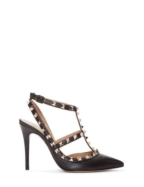 Valentino | Чёрный Black Rockstud Cage Heels