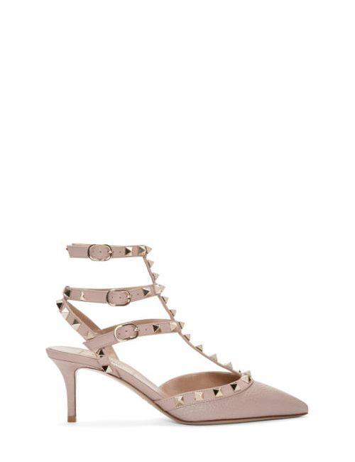 Valentino | P45 Poudre Pink Rockstud Strap Cage Heels