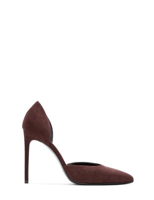 Saint Laurent | Burgundy Suede Paris Skinny Dorsay Heels