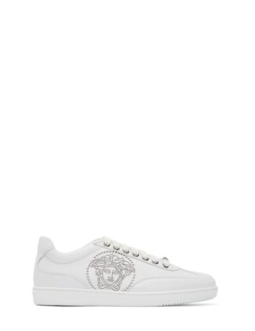 Versace | Белый White Leather Perforated Medusa Sneakers