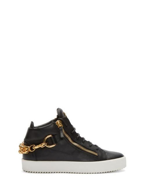 Giuseppe Zanotti Design | Birel Nero Giuseppe Zanotti Black And Gold Leather London