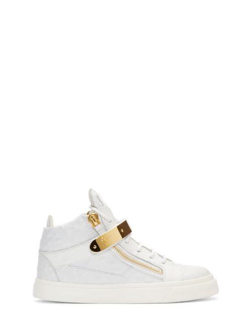 Giuseppe Zanotti Design | Bianco Giuseppe Zanotti White Leather Mid-Top London Sneakers