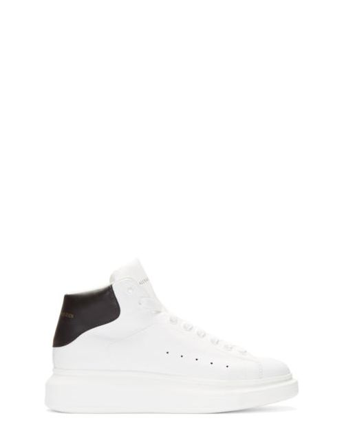 Alexander McQueen | Черный Ivory And Black Leather High-Top Sneakers