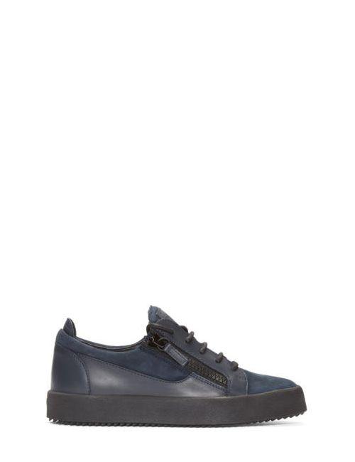 Giuseppe Zanotti Design | Cam Notte Giuseppe Zanotti Navy Leather Low-Top London Sneakers