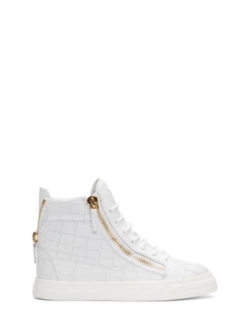 Giuseppe Zanotti Design   Bianco Giuseppe Zanotti White Croc-Embossed Ringo London Sneakers