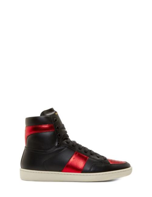 Saint Laurent | Чёрный Black And Red Leather High-Top Sneakers