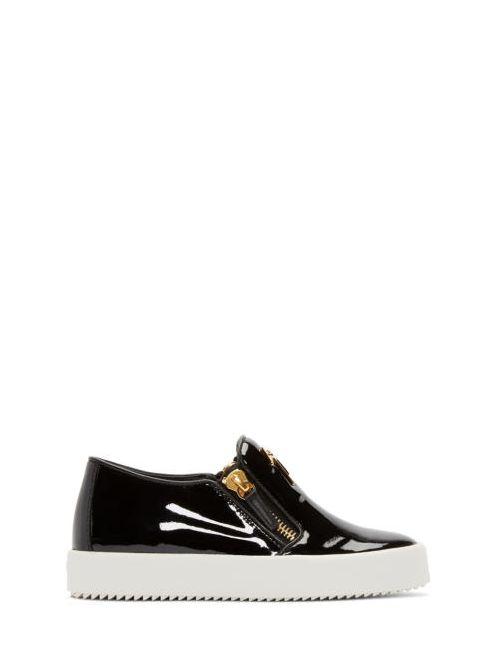 Giuseppe Zanotti Design   Giuseppe Zanotti Black Patent Leather London Slip-On