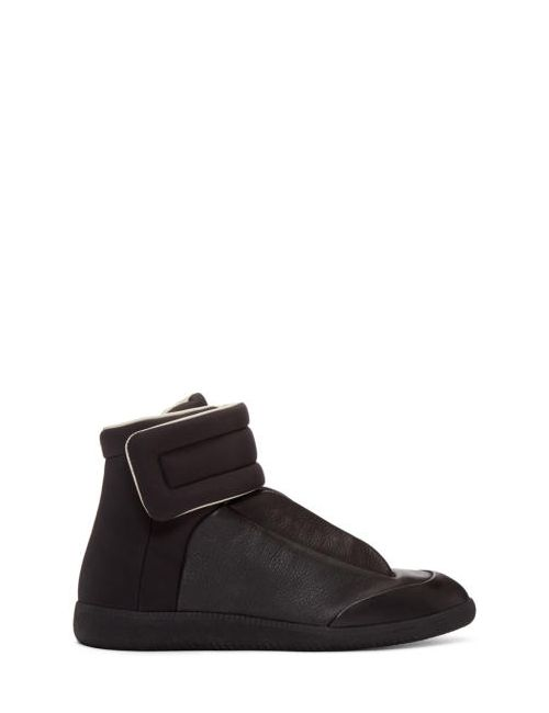 Maison Margiela | Чёрный Black Leather And Nylon Future High-Top Sneakers