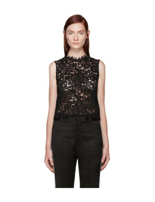 Saint Laurent | Чёрный Black Floral Lace Blouse