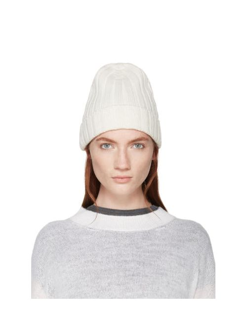 MM6 by Maison Margiela | 106-Calico Mm6 Maison Margiela White Ribbed Beanie