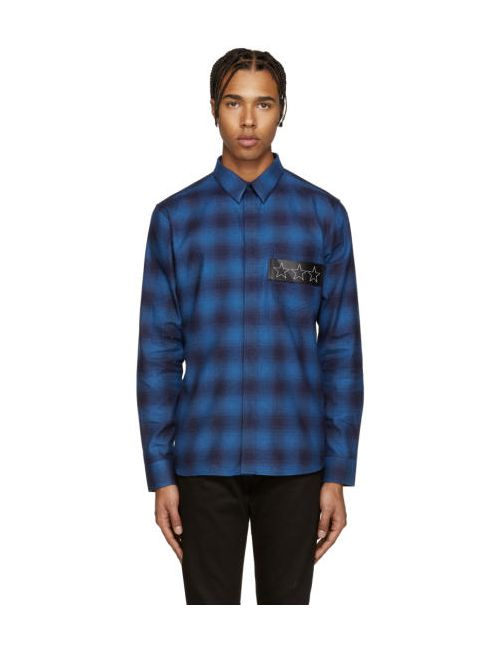 Givenchy | Синий Blue Plaid Stars Shirt