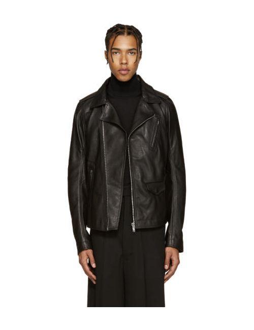 Rick Owens | Черный Black Leather Stooges Jacket