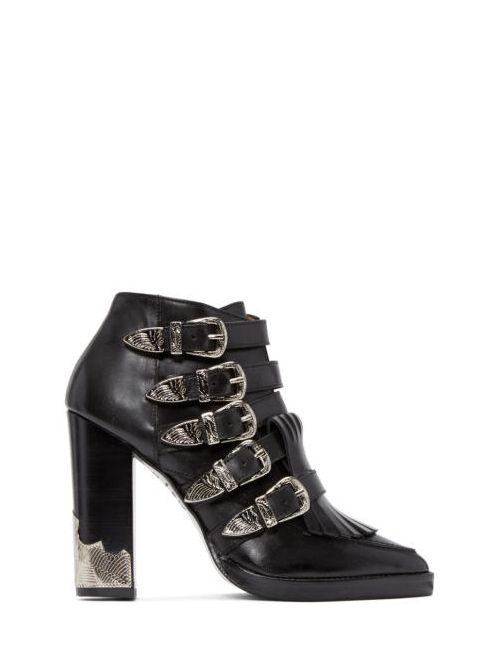 Toga Pulla | Чёрный Black Heeled Western Buckle Boots