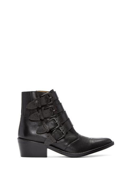 Toga Pulla | Чёрный Black Western Buckle Boots