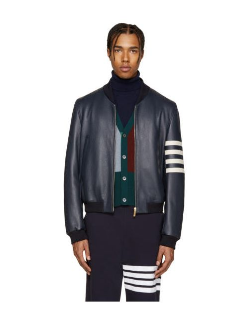 Thom Browne | 415 Navy Navy Leather Varsity Bomber Jacket