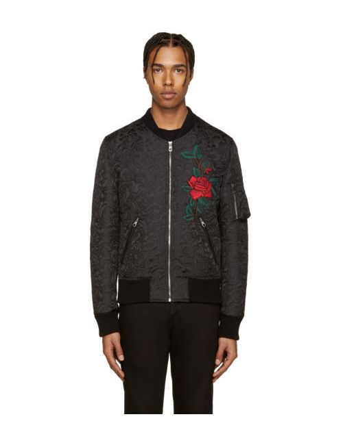 Dolce & Gabbana | Чёрный Dolce And Gabbana Black Flower Brocade Bomber