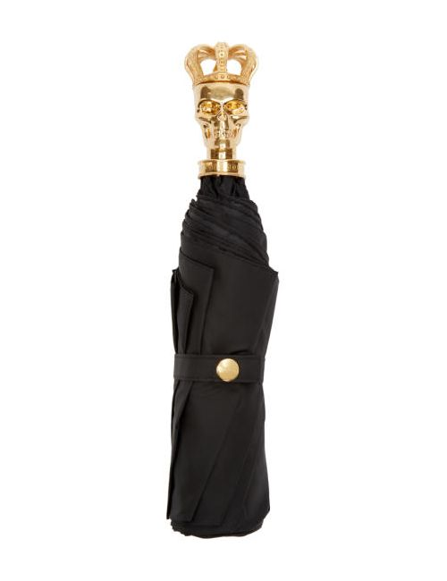 Alexander McQueen   Золотой Black And Gold King Skull Compact Umbrella