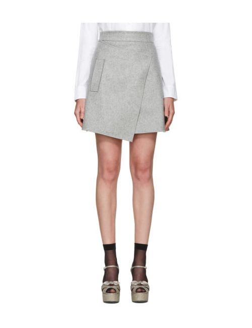 Carven | Серый Grey Wool Wrap Miniskirt