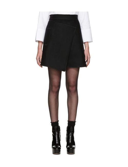 Carven   Чёрный Black Wool Wrap Skirt