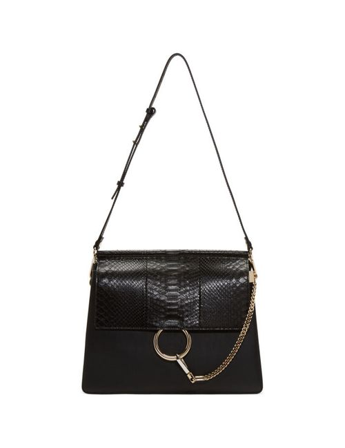 Chloe | Черный Chloé Black Python Medium Faye Bag