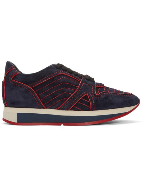 Burberry | Dark Indigo Navy Suede Field Sneakers