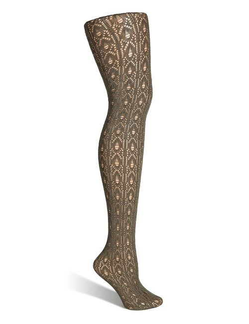 Fogal | Tropic Sage Crochet Pattern Velvet Tights Gr.