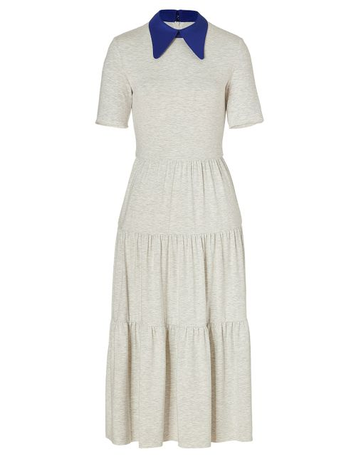 ROKSANDA | Женское Серый Heather Grey/Lapis Blue Midi Dayton Dress Gr.
