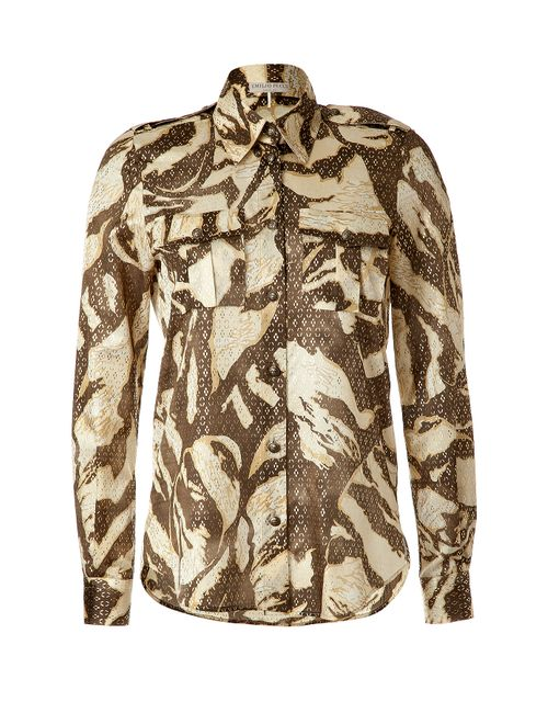 Emilio Pucci | Женское Sand/Gold Printed Silk Blouse Gr. M
