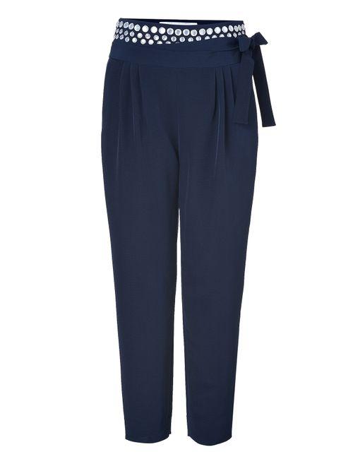Diane Von Furstenberg | Женское 100%Polyester Navy Keaka Embellished Pants Gr. 34