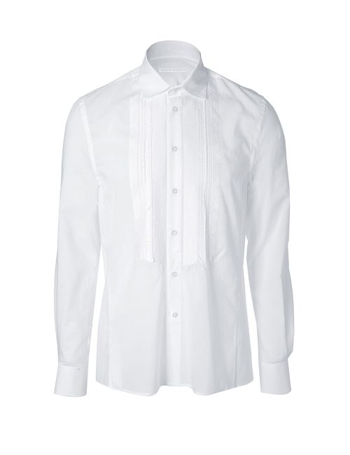 Ermanno Scervino | Мужское Белый White Cotton Beaded Tuxedo Shirt Gr. 48