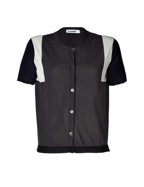 Jil Sander | Женское Синий Slate/Navy Colorblock Cotton Short Sleeve Cardigan Gr.