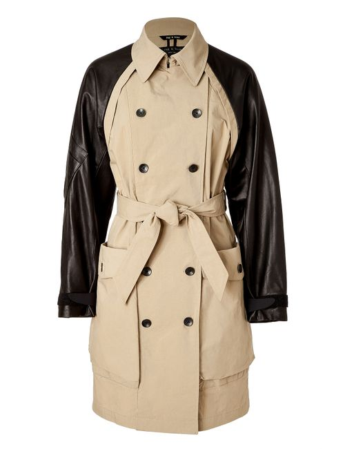 Rag & Bone | Женское Khaki Trench Coat With Leather Sleeves Gr.