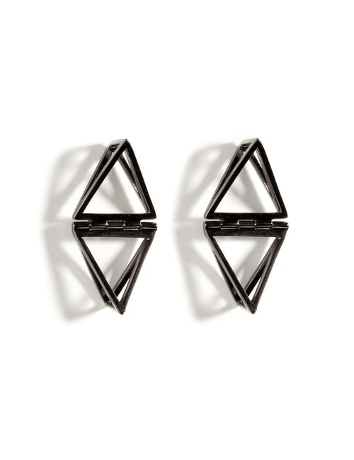 Lynn Ban | Женское Серебристый Black Rhodium Silver Double Triangle Earrings Gr.