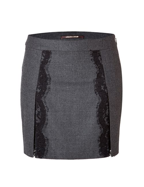 Roberto Cavalli | Женское Серый Stretch Wool Mini-Skirt With Lace In Dark
