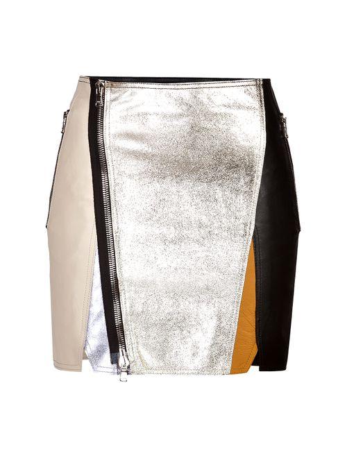 3.1 Phillip Lim | Женское Многоцветный Leather Patchwork Moto Skirt Gr. 40