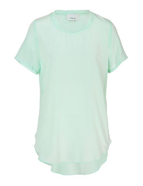 3.1 Phillip Lim | Женское Turquoise Silk Crewneck T-Shirt Gr. Us 0