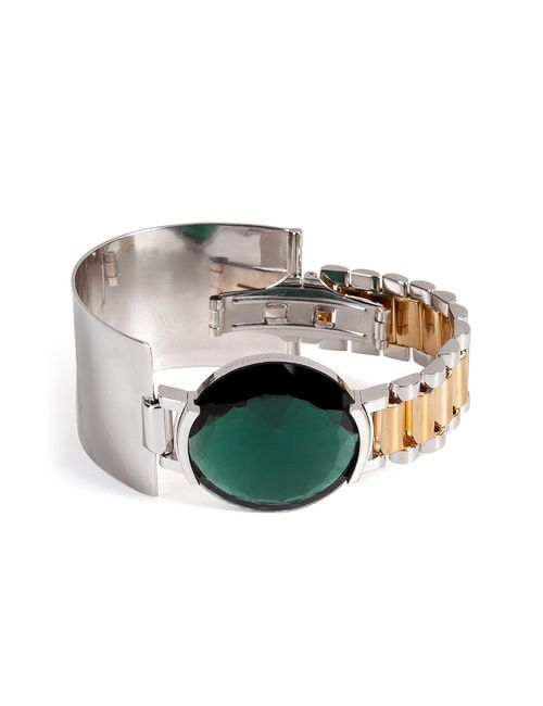 Delfina Delettrez | Женское Зелёный Watch Bangle With Green Quartz Gr. One
