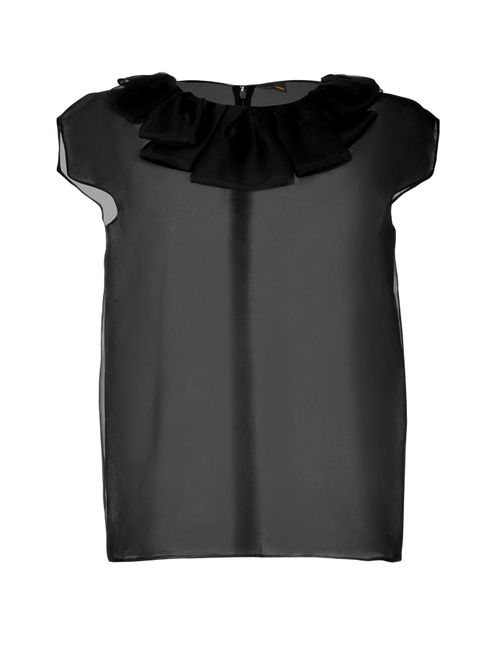 Fendi | Женское Чёрный Sheer Silk Ruffle Neck Top Gr. 36