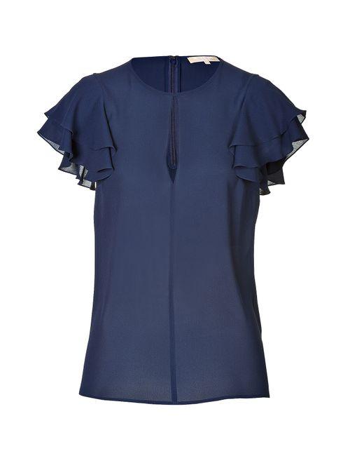 Michael Kors | Женское Синий Short Sleeve Silk Blouse Gr. 40