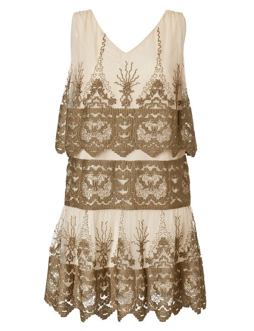 Anna Sui | Женское Tiered Embroidered Mini-Dress Gr. 32