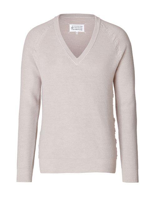 Maison Margiela | Мужское Mauve Wool V-Neck Pullover Gr. S