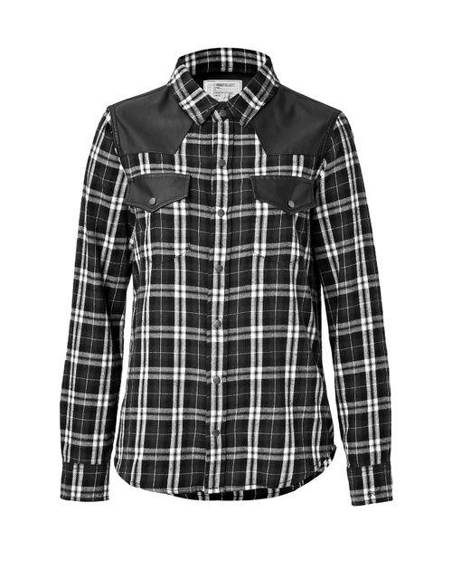 Current/Elliott | Женское Чёрный Cotton Plaid And Leather Shirt Gr. Xs