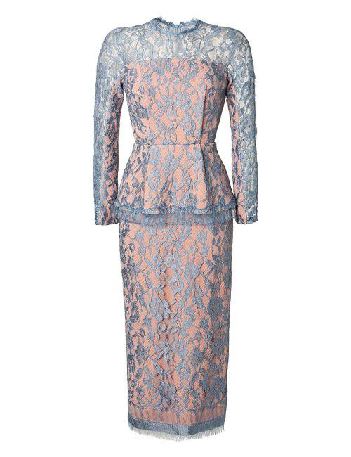 Emilia Wickstead | Женское Синий Silk Dress With Lace And Peplum Gr.