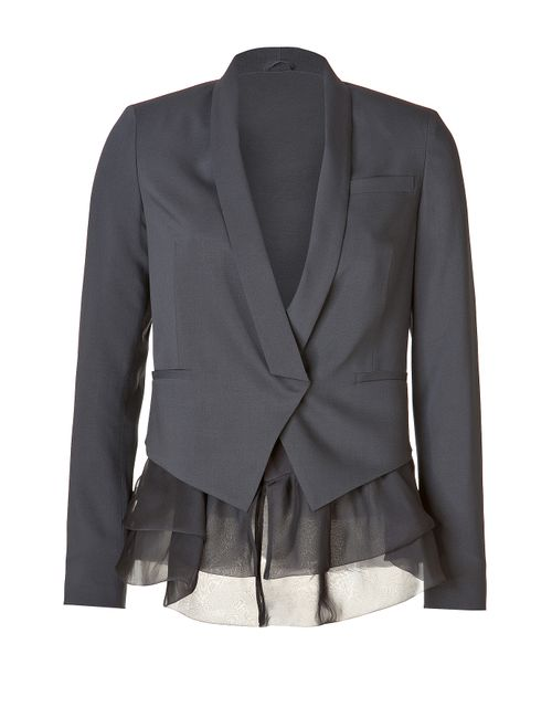 Brunello Cucinelli | Женское Серый Stretch Wool Blazer With Sheer Ruffle Hem
