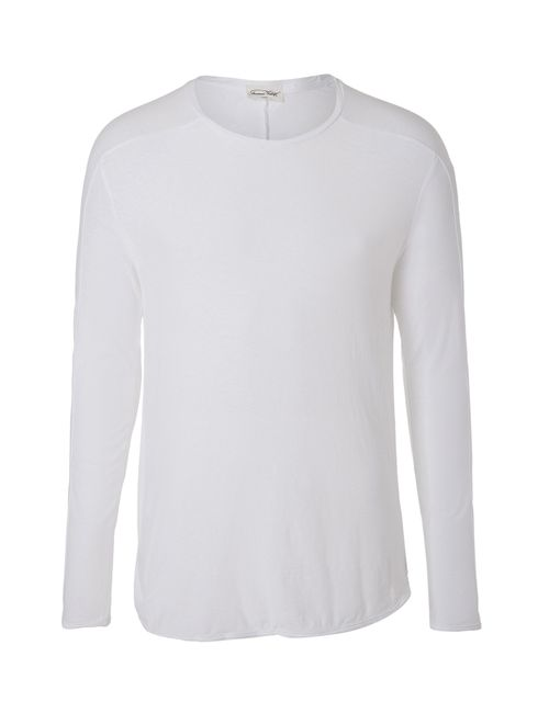 American Vintage | Мужское Белый Cotton Long Sleeve T-Shirt Gr. M