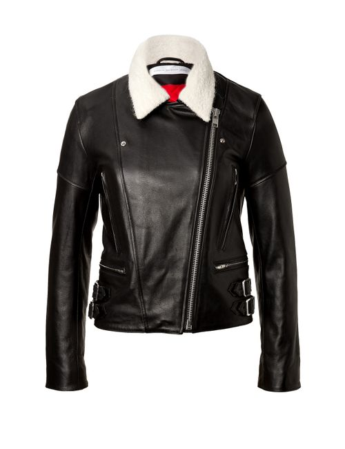 Victoria Beckham Denim | Женское Schwarz Leather Jacket With Knit Collar Gr. 8