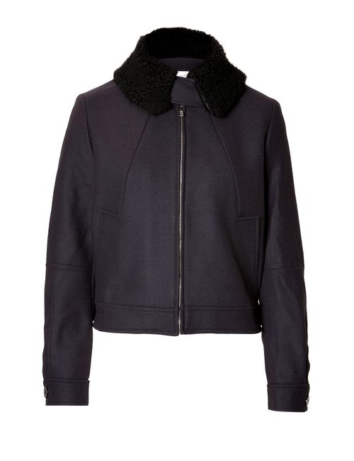 Victoria Beckham Denim | Женское Синий Wool Bomber Jacket With Large Collar Gr.