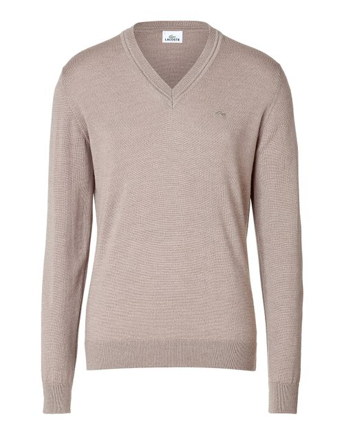 Lacoste | Мужское Бежевый Wool V-Neck Pullover Gr. 52