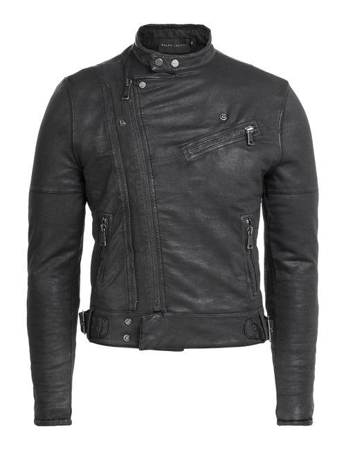 Ralph Lauren Black Label | Мужское Черный Cotton Biker Jacket Gr. M